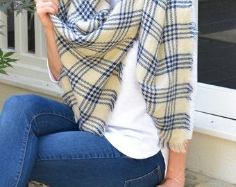 Cream & Blue Plaid Blanket Scarf
