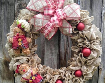 Gingerbread man burlap wreath, gingerbread wreath, burlap Christmas wreath, Christmas wreath, rustic Christmas wreath