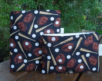 Reusable sandwich bags - Reuse snack bags - Eco friendly sandwich bag - Zero waste lunch bags - Fabric snack bags - Lets play baseball