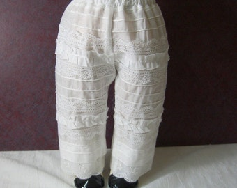 Reserved for Linda: Plain WHITE REGENCY PANTALETTES to decorate yourself - for Caroline or any American Girl Dolls