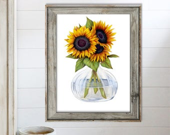 SALE-Sunflowers-Digital Print-Wall Art-Digital Designs-Home Decor-Gallery Wall-Modern Farmhouse Wall Decor-Flower Wall Art