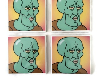 Handsome Squidward Tile Coasters select 1 or set of 4