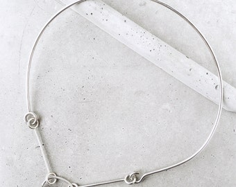Crystal Quartz Arch Suspension Choker / modern abstract futuristic gemstone statement necklace / sterling silver