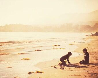beach photography, as seen in Elle girl Korea, Endless Summer No.1, Santa Barbara CA golden warm amber sunset children play memories