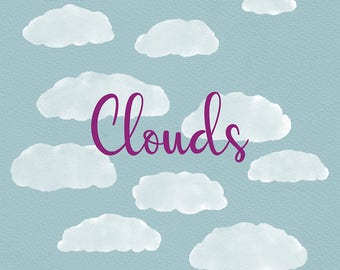 Cloud Clip Art, Puffy Clouds, Watercolor Clip Art, Set of 10 PNG Images, Graphic Design, Instant Download, Digital Graphics, Illustration