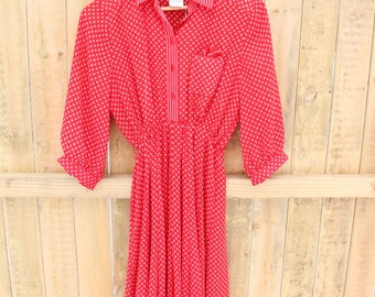 Red Collared Vintage Dress / 60s / Small / XSmall