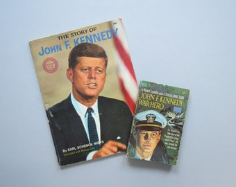 The Story of John F. Kennedy Book // Vintage 1964 Wonder Books Illustrated Photographs Presidential History Book JFK Earl Schenck Miers
