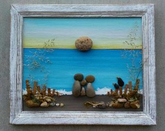 "Pebble Art, Rock Art, Pebble Art Family, Rock Art Family, Family of Three, framed pebble art, vacation,""open"" 9.5x11.5 frame (FREE SHIPPING)"