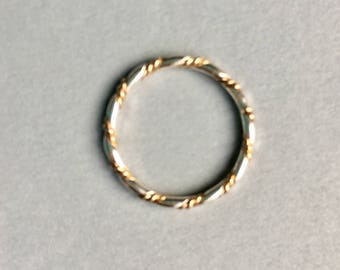 Mixed metal twist ring, sterling silver& 14k. goldfilled