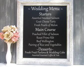 "DECORATIVE CHALKBOARD For Sale Framed Menu Board 30""x26"" Rustic Wedding Signs Sign Garden Wedding Distressed White Distressed Chalk board"