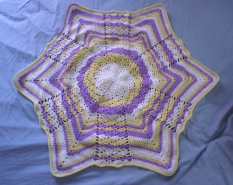 Handmade crochet Purple, Yellow, and White shell lap blanket/afghan/throw/lapghan with border - READY TO SHIP