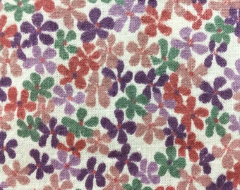 Vintage Flower Print - Flower Mini Print in Purple Green and Rusty Rose - Vintage Quilt Fabric - Fabric Yardage - 1/2 Yard