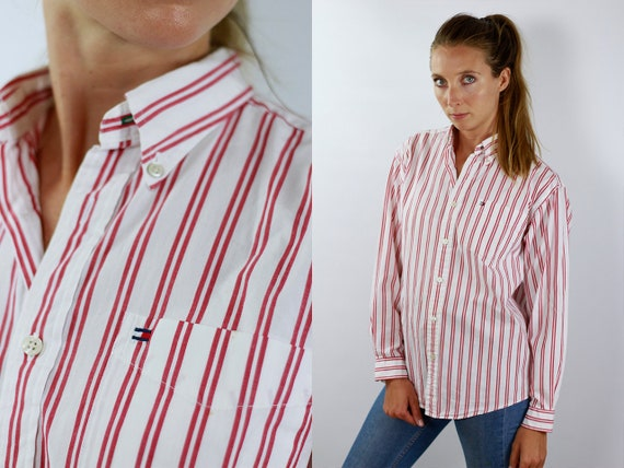 TOMMY HILFIGER Shirt Polo Tommy Button Up Polo Striped Shirt Women Stripe Shirt Vintage Tommy Hilfiger Vintage Shirt Oxford Shirt