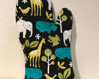 Zoo Animals Polka Dots Lime Gingham Oven Mitt (One/Left-handed)