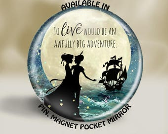 2.25 Inch Peter Pan Pin, Pocket Mirror, Magnet, or Christmas Ornament