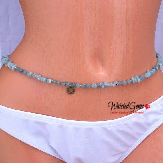 14k Aquamarine Gemstone Waist Beads, March Waistbeads , Aquarius Birthday Waistbeads, belly chain, Birthday Gift Ideas, Body Jewelry zmw7777