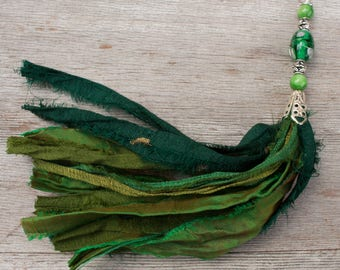 Boho Green Sari Silk Ribbon Tassel Necklace