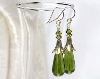 Olive Czech Lampwork Glass Earrings, Gold Green Earrings, Artisan, Lampwork Earrings, Czech Lampwork Jewellery, Gold, Elandra Designs