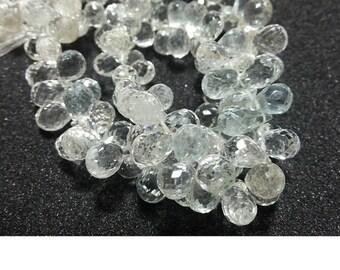 White Topaz, Faceted Tear Drop Beads, 5x8mmEach, 11 Pieces