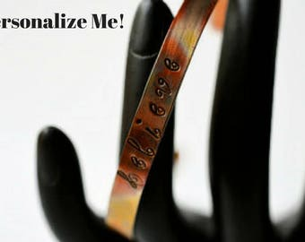 Personalized Bracelet - Copper Stacking Bracelets - Believe Bracelet - Inspiration Jewelry - Boho Bracelet - Quote Bracelet - Motivational
