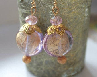 Pink Lavender Gold Foil Lampwork Murano Glass Earrings Coin Shape Gift for Her Wedding Birthday Mother Day Special Occasion