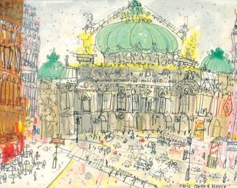 Opéra Garnier PARIS ART PRINT Opera House Parisian Watercolor Painting, Parisian Wall Art, Palais Garnier Paris, French Architecture