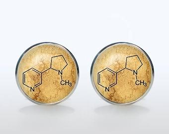Nicotine molecule cufflinks Custom cuff links personalized gift for boyfriend Christmas gift wedding cufflinks groom gift coffe lovers