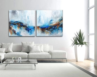 """READY TO HANG 63"""" X 31.5 (160cm x 80cm)Pair of abstract paintings -    modern painting  fine art, acrylic on canvas"""