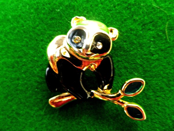 Panda brooch pin, black enamel and gold tone with diamante eyes