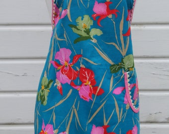 Ladies Full Apron with One Pocket in Iris Flowers Floral Print Medium Blue, Pink Green