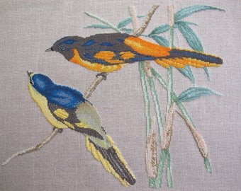 Scarlet minivets cross-stitch Embroidery