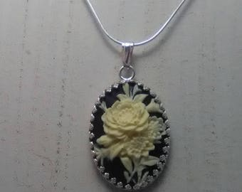 Cameo White Rose on Black Background Sterling Silver