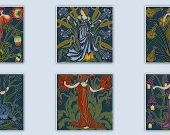 Set of 6 Walter Crane Flower Fairies Art Nouveau