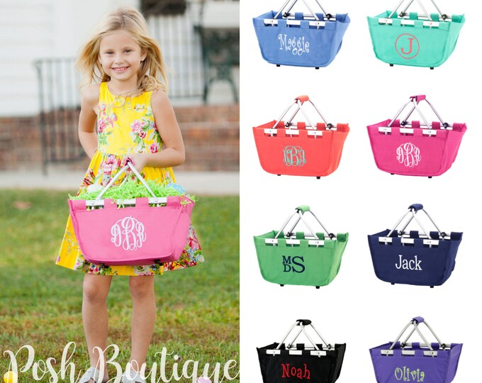Monogram Mini Market Tote, Monogrammed Easter Basket, Personalized Easter Basket, Easter Bucket, Personalized Market Tote
