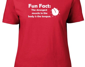 Fun Fact: Strongest Muscle. Ladies semi-fitted t-shirt.