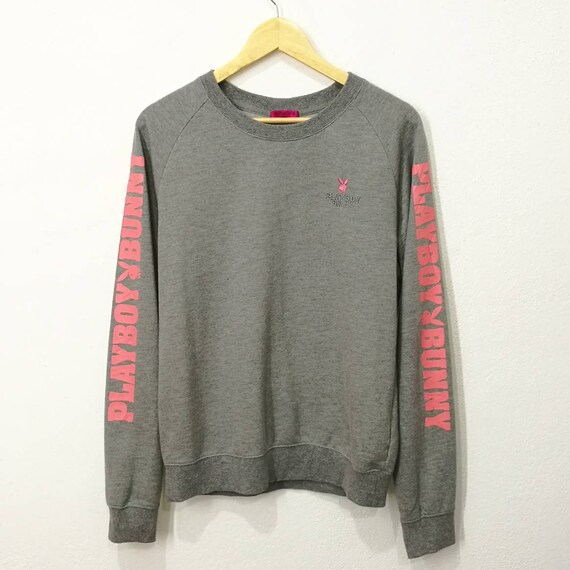 RARE!! Vintage Playboy Bunny Embroidery Big Logo Spellout Pink Bunny Sweatshirt Jumper Pullover zYhSvVamD