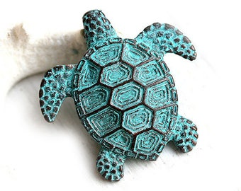 Extra Large Turtle pendant bead Green patina pendant Copper Turtle Greek metal casting Lead Free, 45mm - 1pc - F119