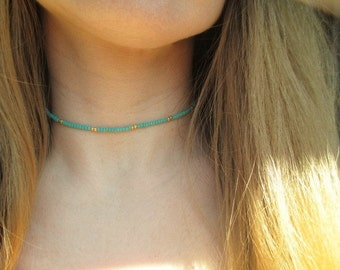 Beaded choker necklace, turquoise and gold beaded choker, gold choker, turquoise choker, seed bead choker, chocker, djustable choker,Jewelry