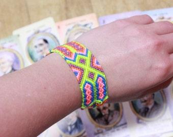Neon Friendship Bracelet, Beach Friendship Bracelet, Rainbow Friendship Bracelet, Wide Friendship Bracelet, Friendship Bracelet Cuff
