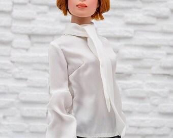 ELENPRIV white chiffon blouse with bow for Tonner Tyler dolls and similar body size dolls