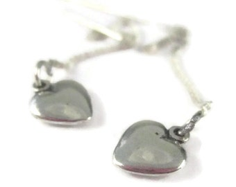 Silver Heart Threader Earrings Tiny Sterling Silver Simple Long Chain Ear Threads