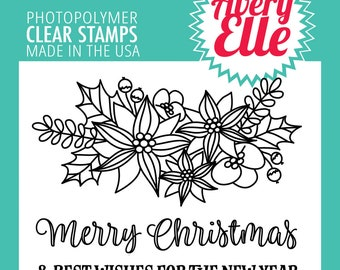Avery Elle Photopolymer Stamp Merry Flowers