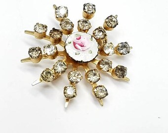 30% Off Sale Guilloche Enamel Rose on White with Rhinestones Vintage Pin Brooch