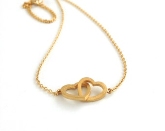 Double Hearts Necklace, Delicate and dainty everyday necklace