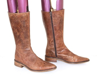 Vintage Brown Floral Pattern 100% Real Leather ZARA Mid Calf Pointy Riding Ladies Boots Size UK 3 EUR 36
