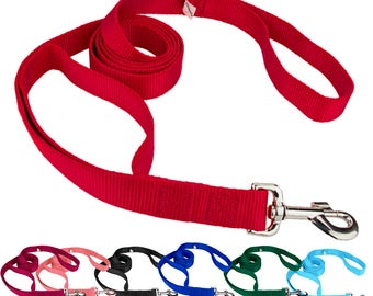 Heavy Duty Double Handle Nylon Leashes.Strong and Durable,Soft and Flexible with heavy metal hardware for maximum safety.Short control Leash