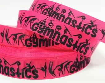 "7/8"" inch Gymnastics Gymnast Black on Hot Pink Background Sports Printed Grosgrain Ribbon for Hair Bow - Original Design"