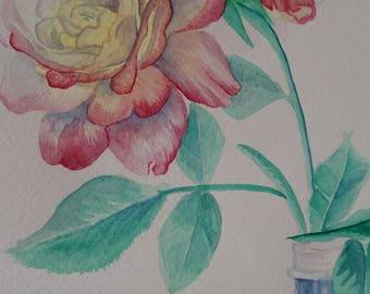 Fraîchement coupé, peinture aquarelle de Roses en rose, jaune et blanc, peinture originale