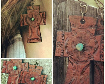 Leather Cross Earrings - Turquoise - Hand Tooled Leather - Cowgirl Earrings - Western Jewelry - Leather Jewelry