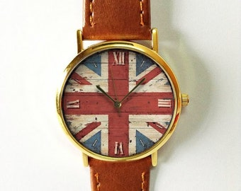 British Flag on Wood Watch,  Great Britain , Vintage Style Watch, US Flag, Leather Watch, Womens watch, Mens Watch, Silver Gold Rose, Gift